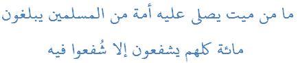ما من ميت يصلي عليه أمة من المسلمين يبلغون  مائة كلهم يشفعون إلا شُفعوا فيه